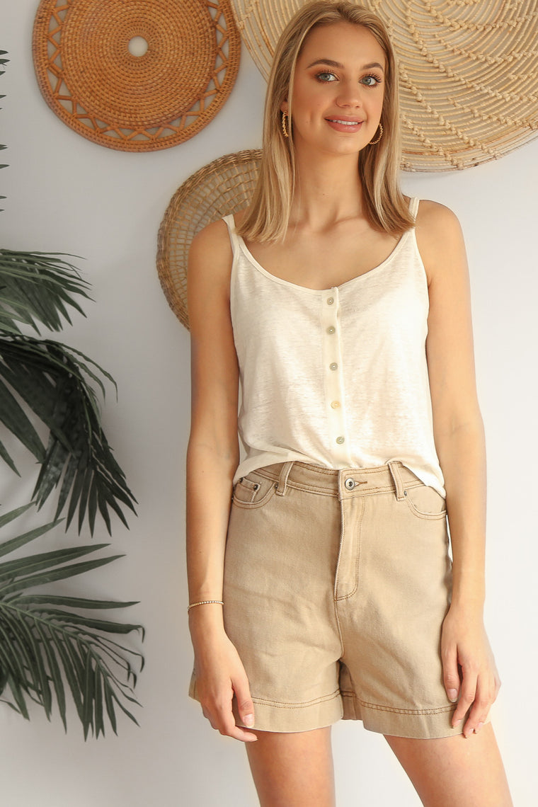 action denim shorts in beige
