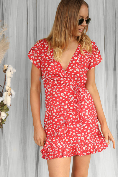 charles wrap dress in red