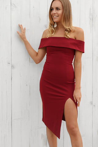 tribeca off the shoulder dress in wine