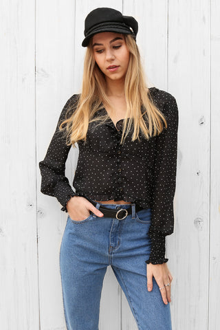 lacey top in black