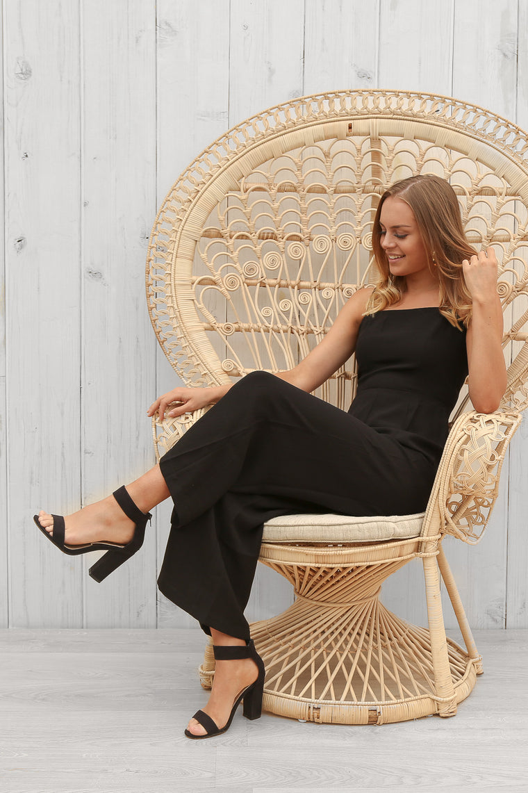 waterfall jumpsuit in black