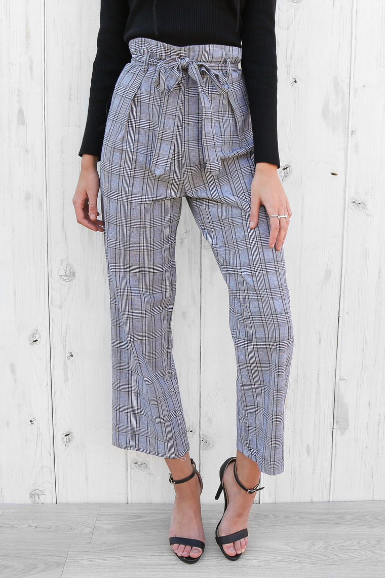 riviera high-waisted pants in plaid