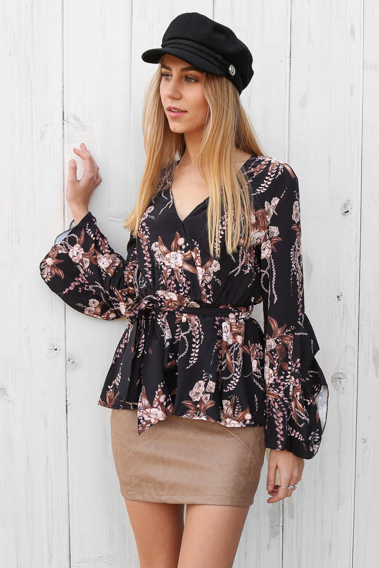 ruby top in floral