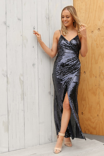 lexi sequin maxi dress in navy