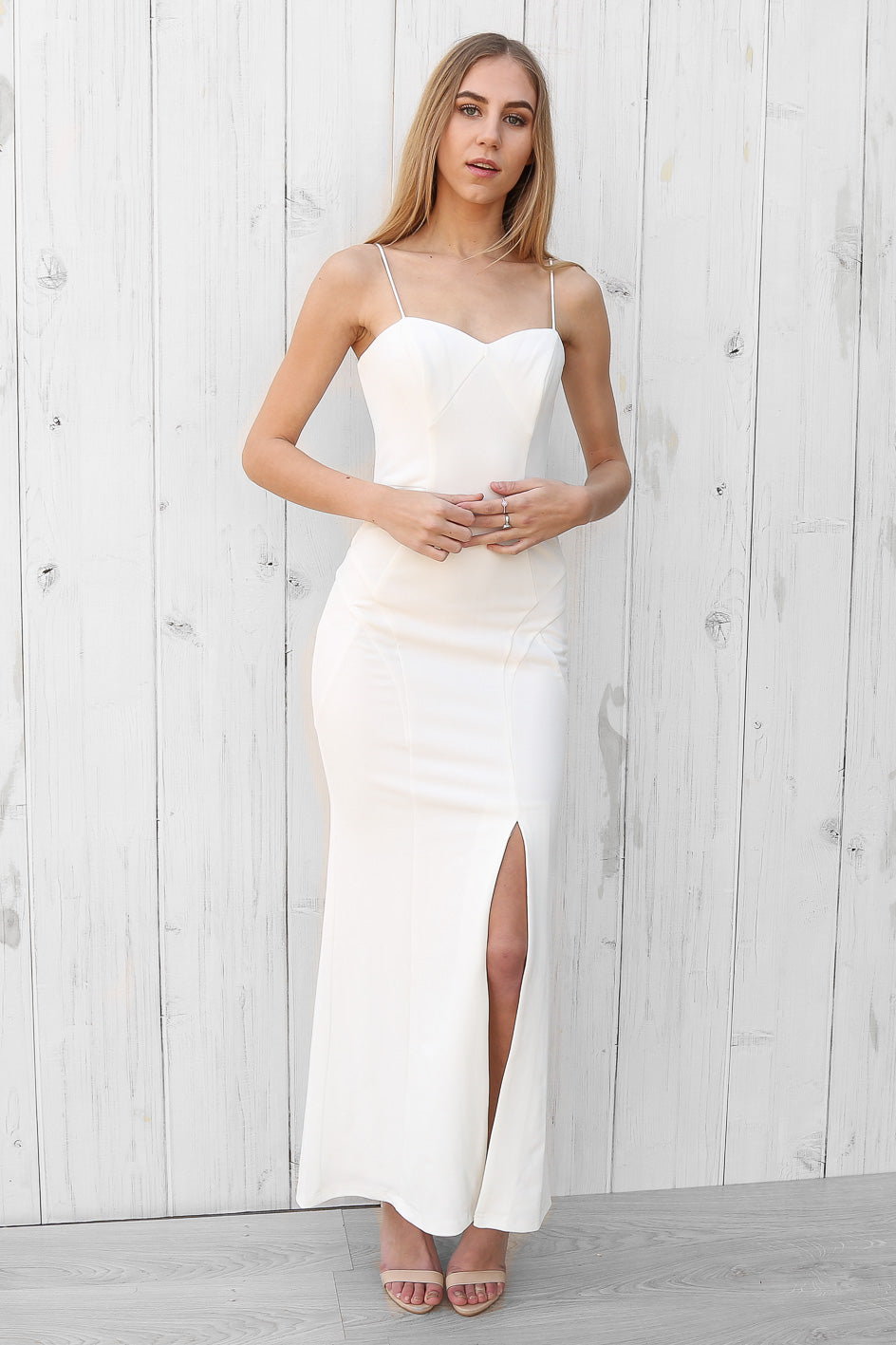 SALE- sylvana seamed maxi in white