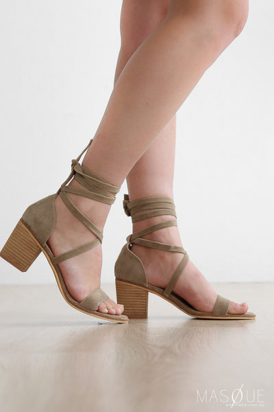cannon heels in beige by therapy