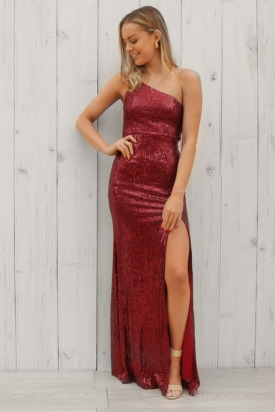 asher sequin asymmetical maxi dress in red