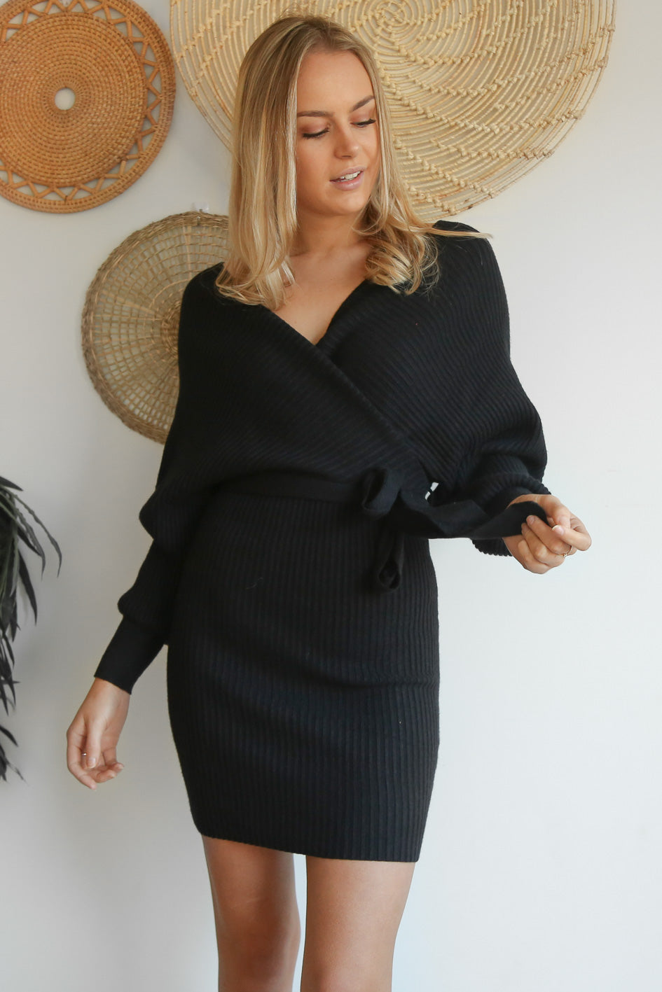 franklyn mini knit dress in black