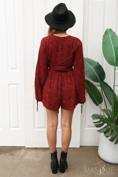 SALE - odyssey playsuit in red