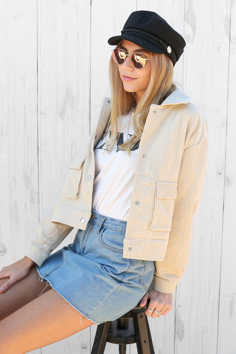 gemini cord jacket in cream