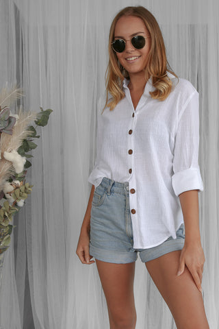 veronica linen shirt in white