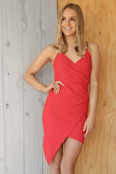heather mini dress in red