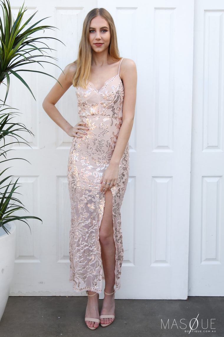 tempest sequin gown in rose gold