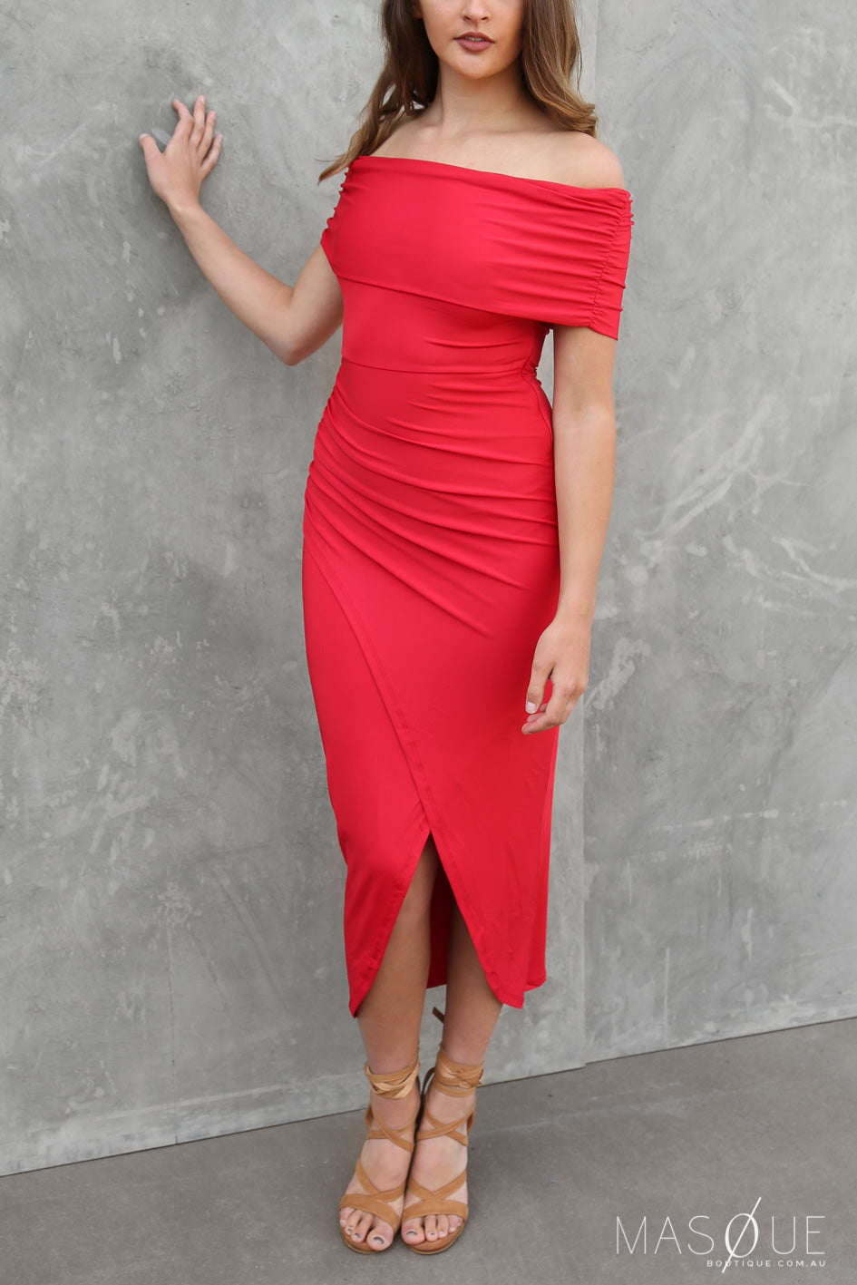 SALE - aliah off the shoulder dress in red