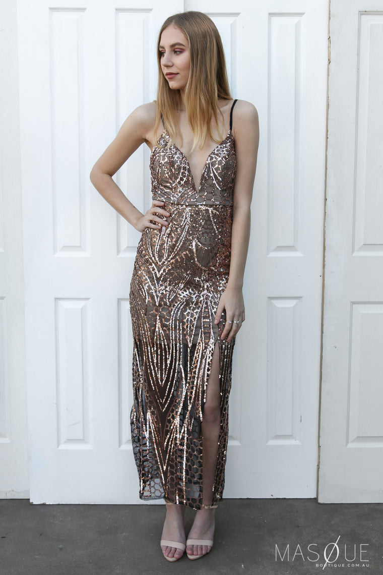 ellora sequin gown in bronze