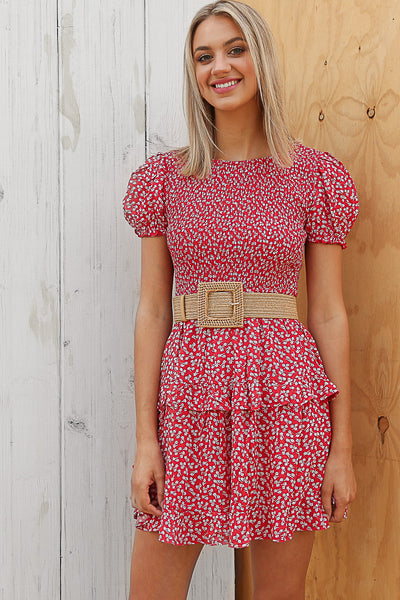 farrah dress in red floral