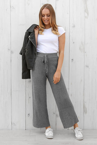 atlanta knit pants in grey