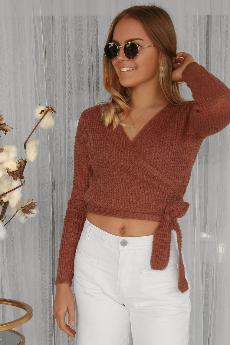 paisley wrap knit top in brown
