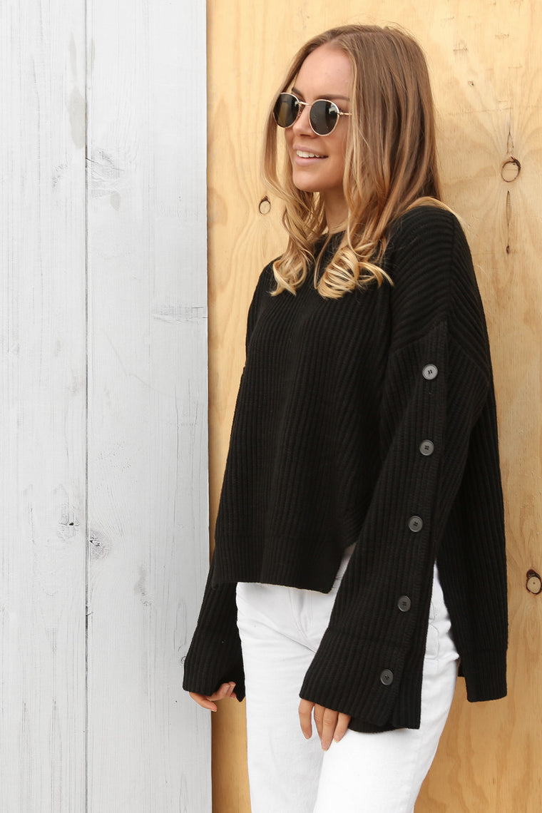 olly knit jumper in black