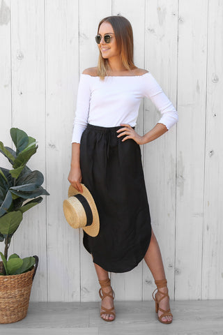 faithful linen skirt in black