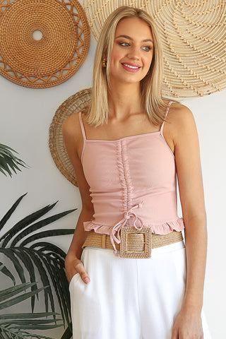 gather singlet in blush