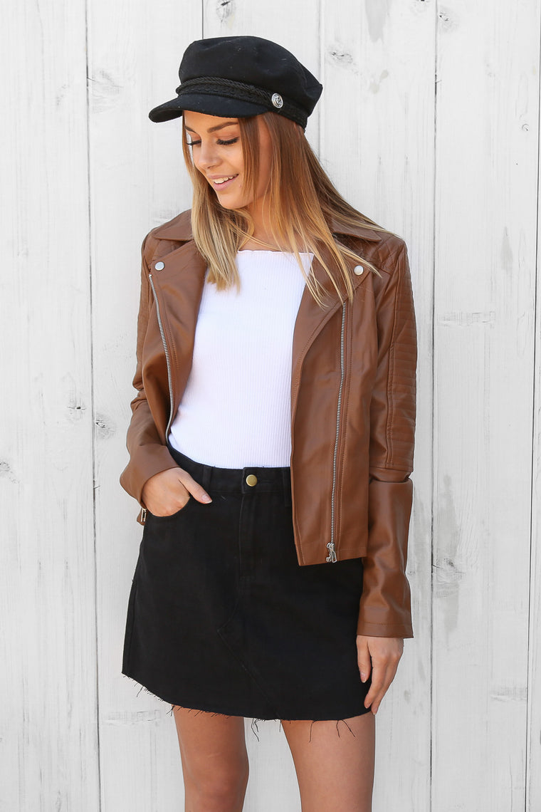 stella tan leather jacket
