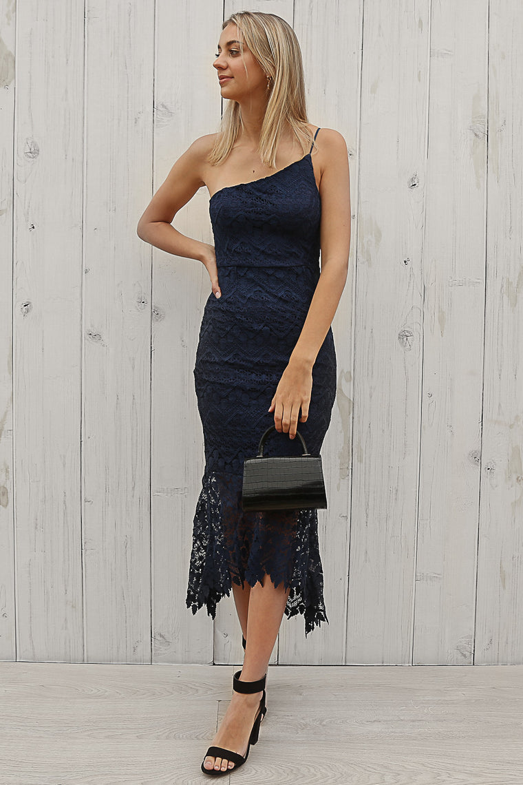 venice one shoudler dress in navy