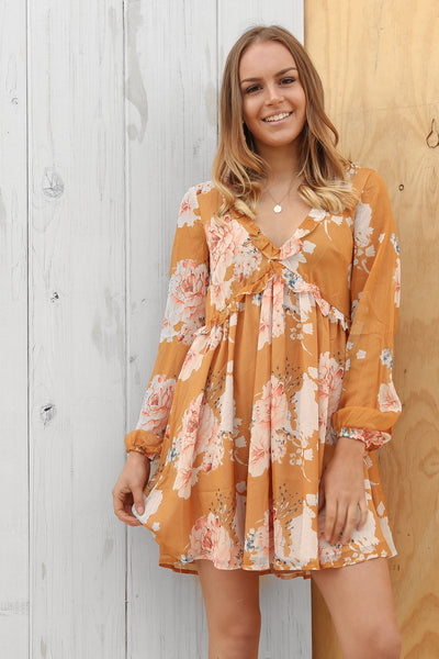 floral fields dress in mustard