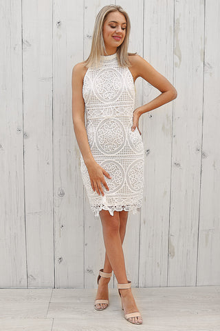 moana lace dress in white
