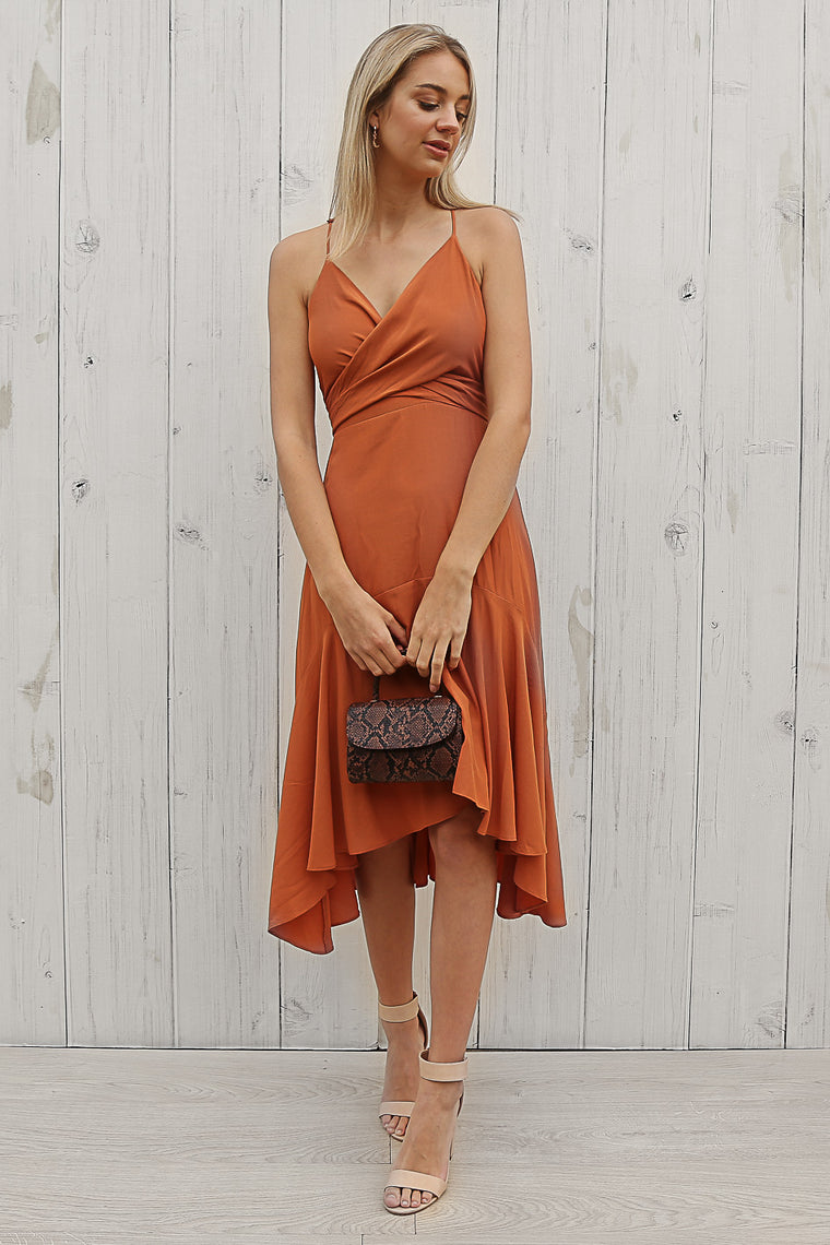 sasha midi dress in rust