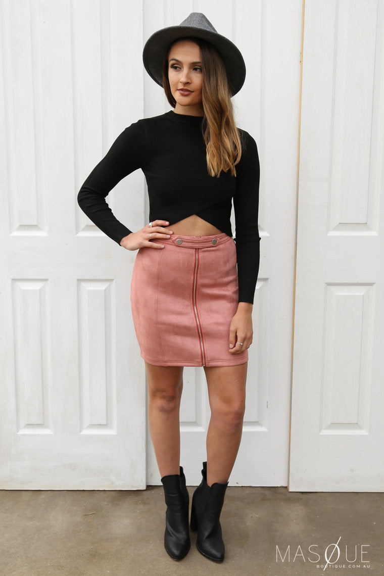 rebel suede skirt in rose