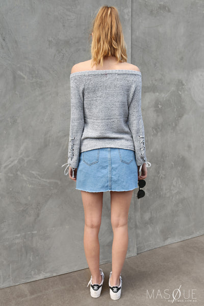 bonnie off the shoulder knit in grey marle