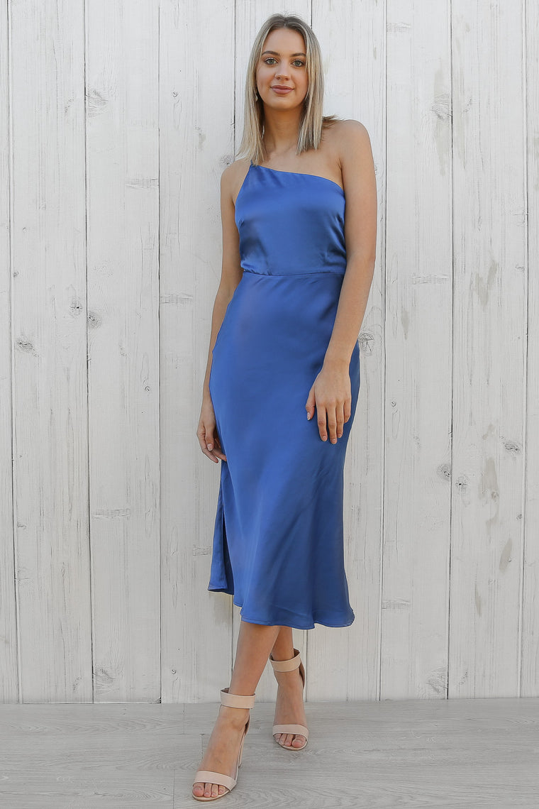 striking one shoulder dress in cobalt