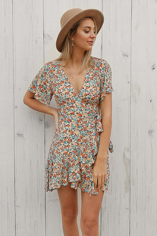 lily wrap dress in floral