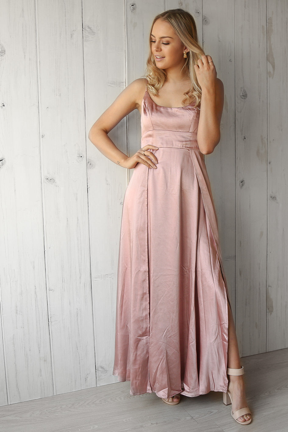 belle maxi in dusty rose