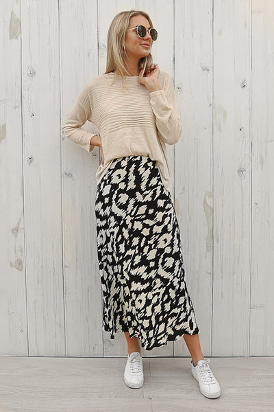 macie midi skirt in black