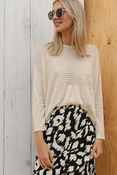 ribbed knit jumper in beige