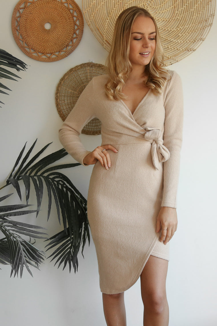 bella knit wrap dress in beige