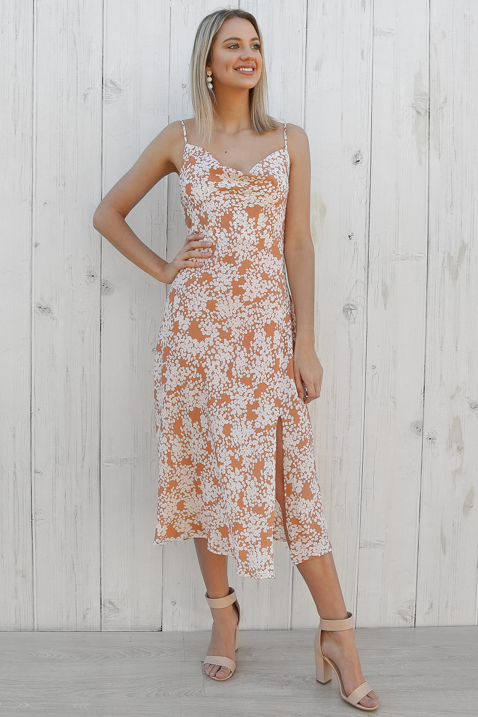 dreamy midi slip dress in orange