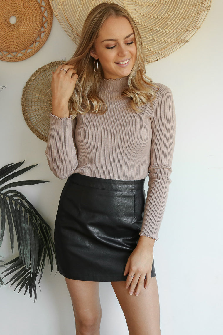 raw leather mini skirt