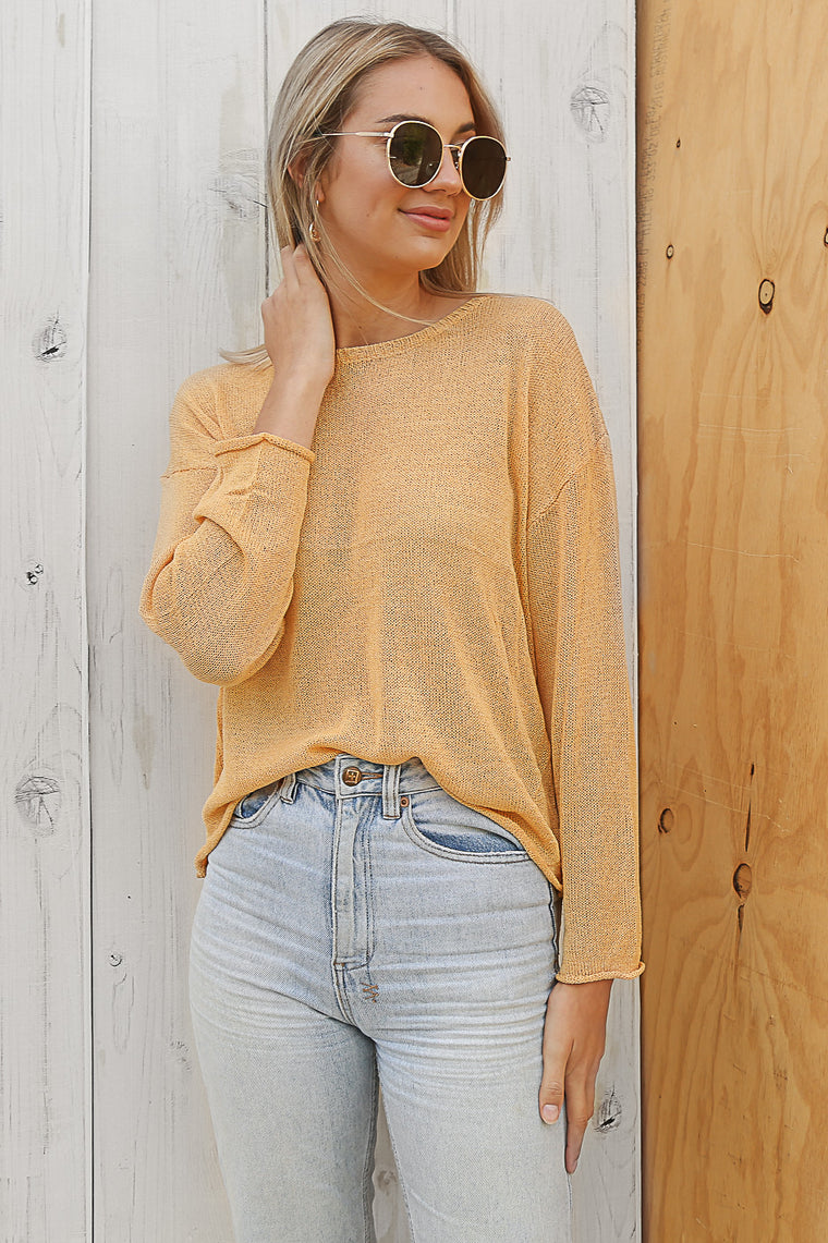 duke knit jumper in mustard