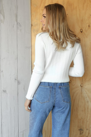 ricky knit top in white