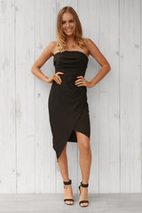 bells mini strapless dress in black