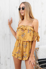 ash playsuit in mustard floral