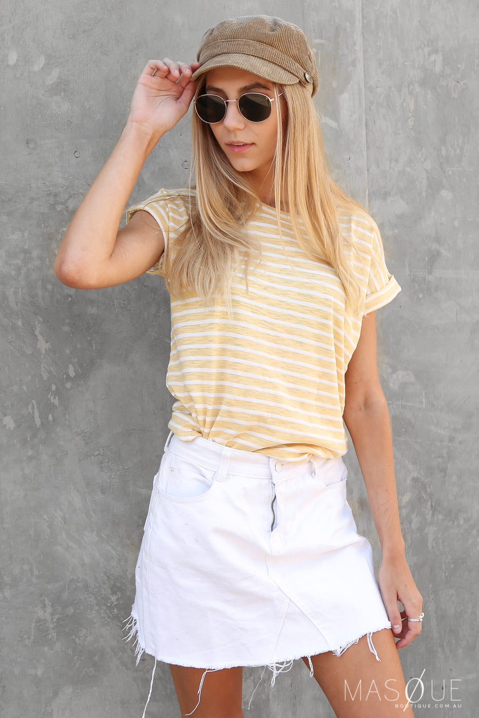 urban tee in yellow stripe