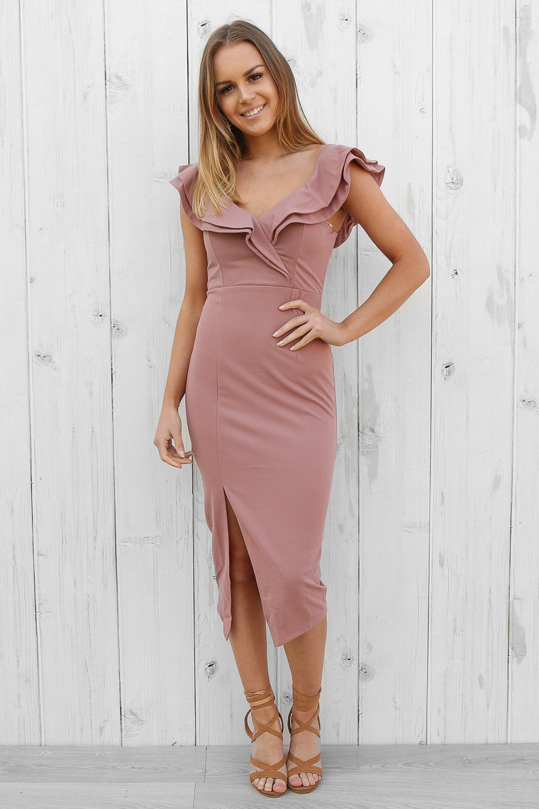 annabelle midi in dusty pink