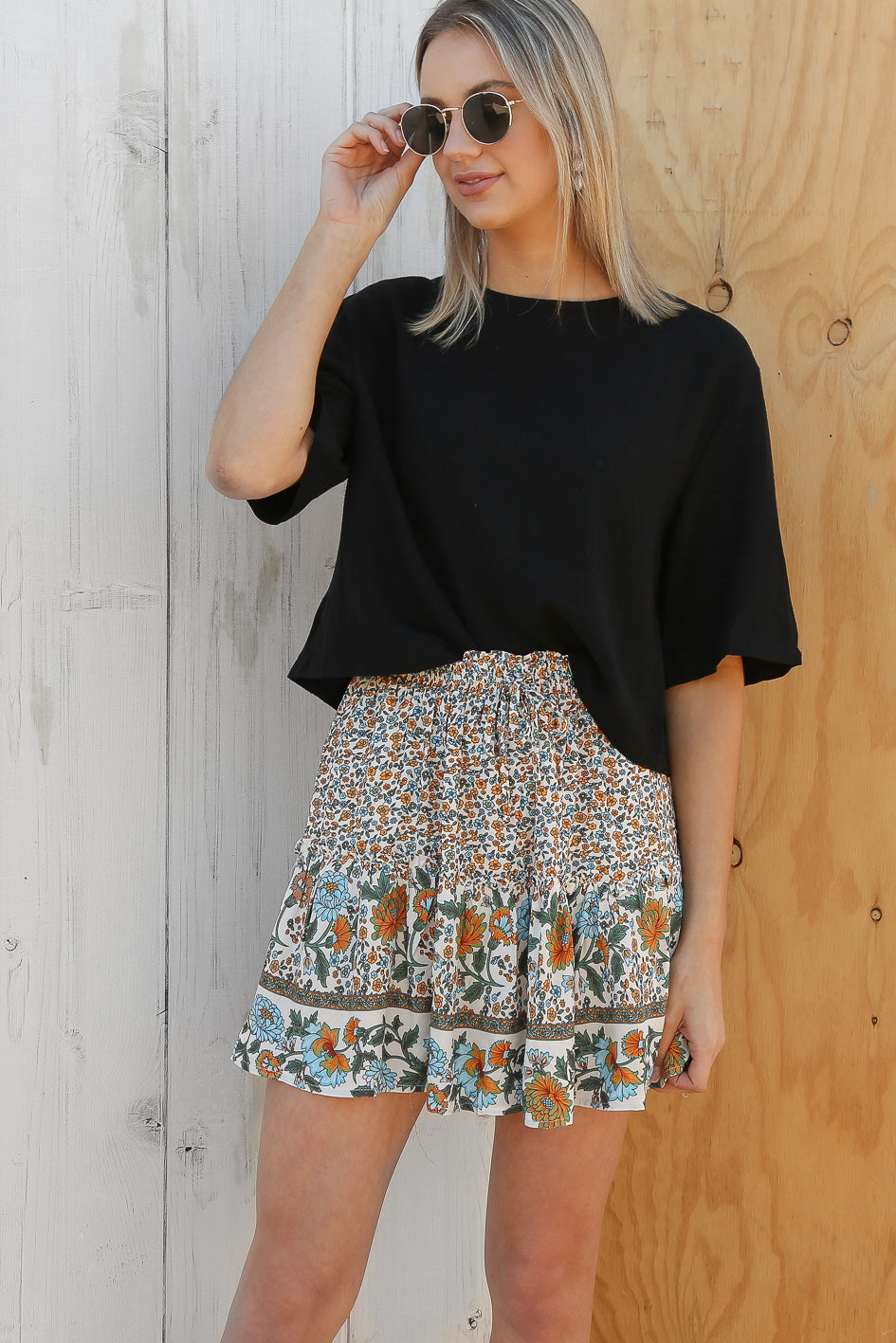 dragon floral mini skirt