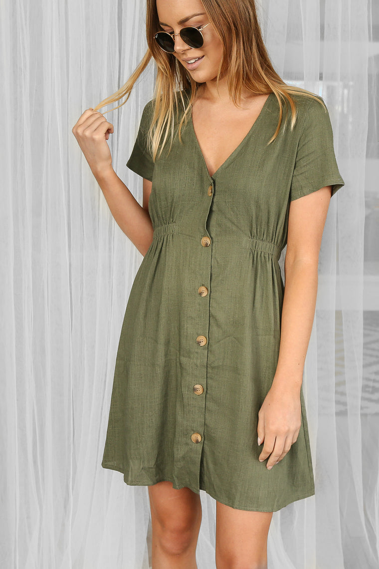 sun dress in khaki