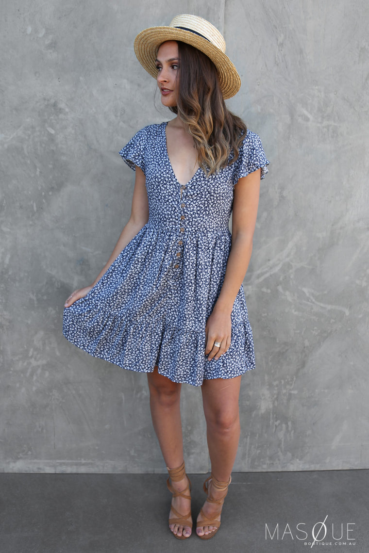 wilson dress in blue floral