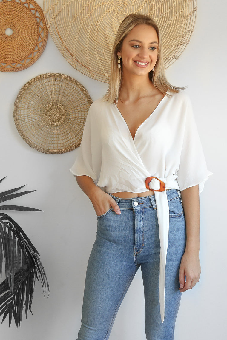 wishful white wrap top